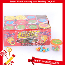 Bucket PVC BOX with Round Shape Chewing Gum in side