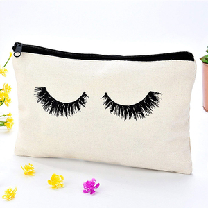 Wholesale women canvas portable cartoon 3D printed eyelash cosmetic bag for travelling