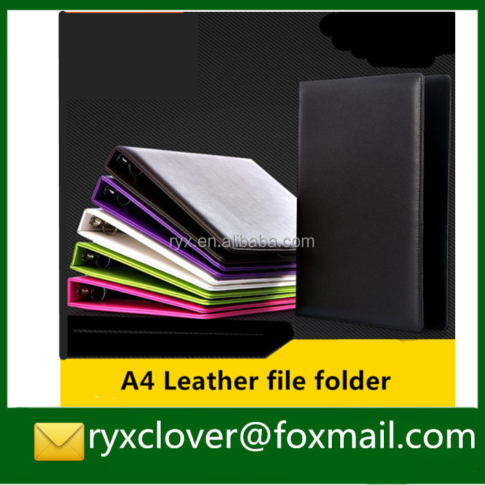 colorful A4 leather ring binder file folders