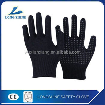 Black Acrylic Seamless Knitted Safety Working Gloves for Industry with PVC Dots on Palm