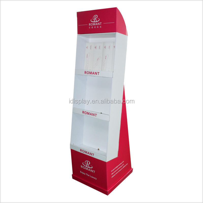 3 tier cardboard display stand portable cardboard floor display stand supermarket floor display stand