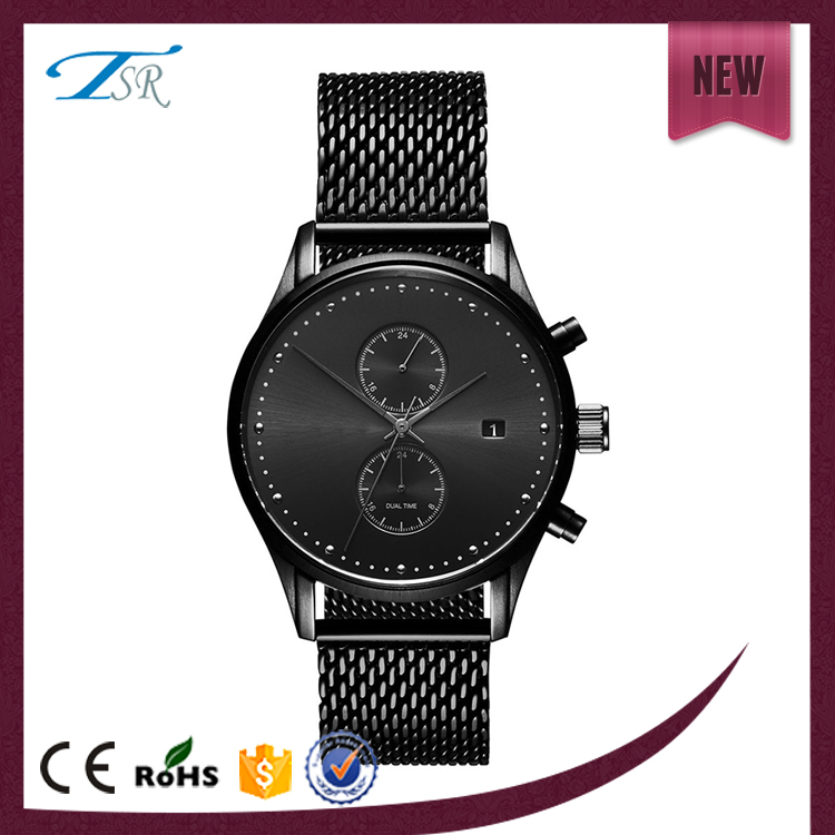 2017 Imitation multifunction chronograph wrist wholesale mesh band or leather band watch