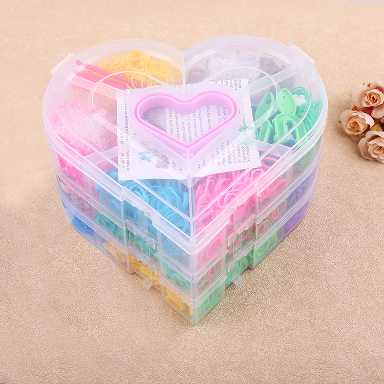 4200pcs bands M-peach box Mix colorful Silicone Bracelet Crazy DIY Cheap Elastic Rubber Loom bands