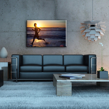 Man running and sunrise pop canvas art wall painting for home decorate