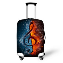 Customized make Cool burning fire print suitcase rain spandex luggage bag cover