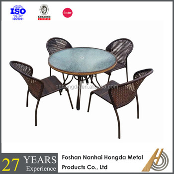 PE Rattan garden table and chair set