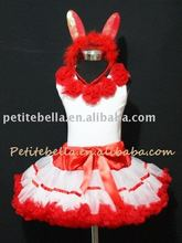 Easter Red White Trim Pettiskirt Rabbit Costum with Red Rosettes Tank Top,Skit,Tutu,Clothing Set,Shirt MAM26EA