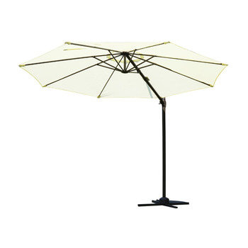 "10"" Outdoor Patio Market Umbrella - Cream White and Brown"