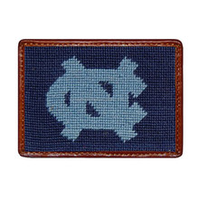 UNC Needlepoint Genuine Cowhide Leather Card Wallet Case