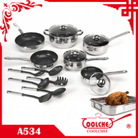18pcs Stainless Steel non stick belly shaped Cookware Set saucepan casserole pan utensils