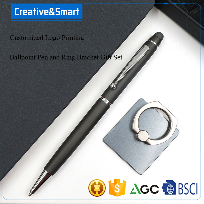 Business Stationery Gift Set Ink Ballpoint Extra Ring Bracket 2017 Promotional Pen With Logo Metal Stylus Laser Touch Pen