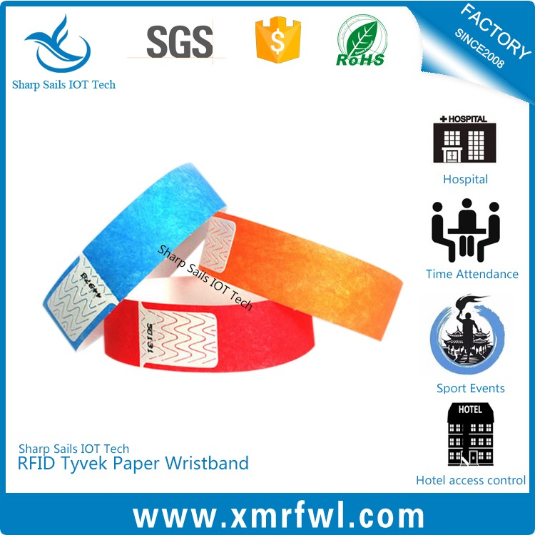Printable HF13.56MHZ rfid disposable bracelet for concert