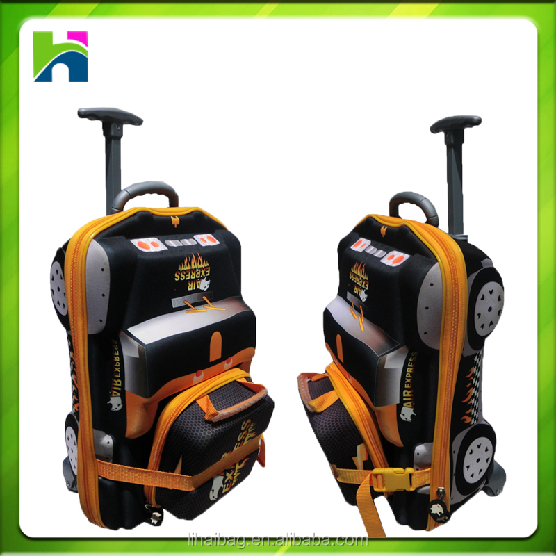 Kids Trolley luggage Bag Wheels 3D Car Trolley Rolling Bag for School