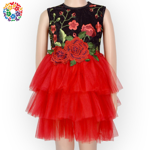 Baby Girls New Design Red Tulle Dress Black Rose Embroidery Prom Bridal Mesh Dress