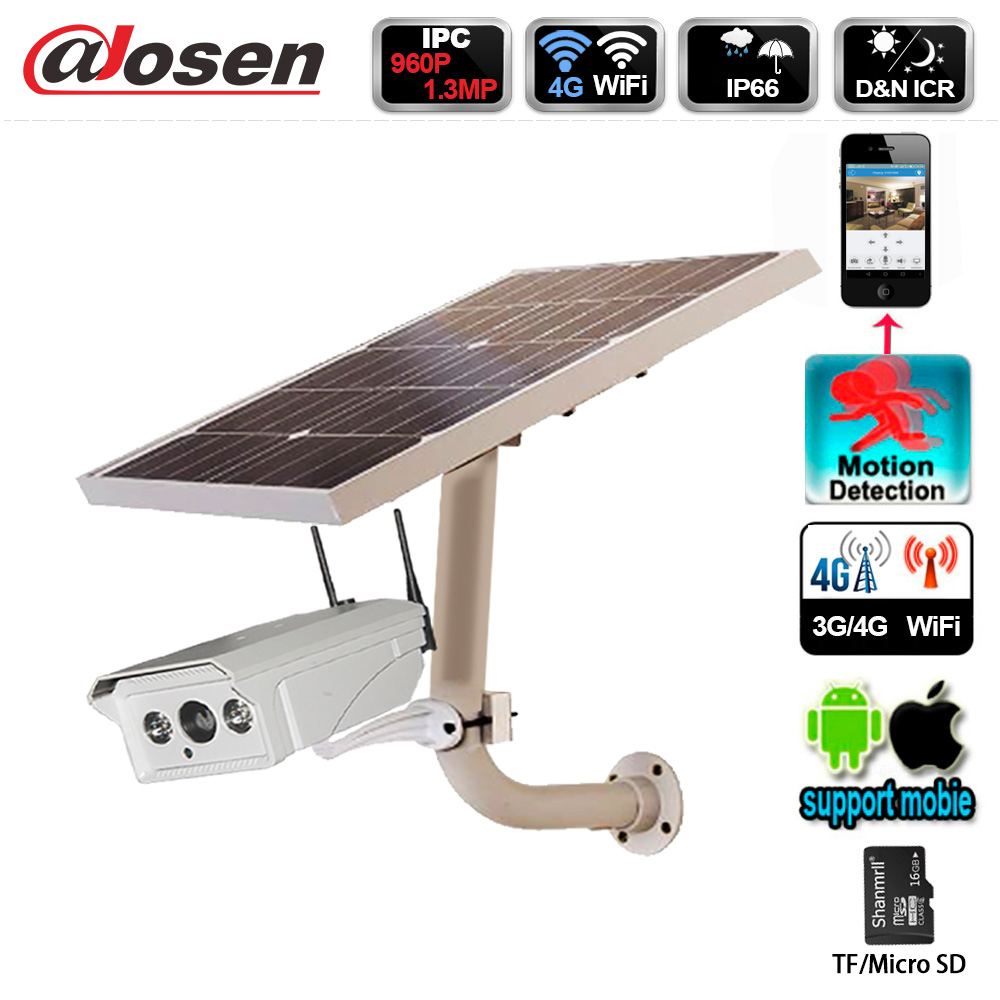 Solar Power 4G 1.3 Megapixel HD 960P Waterproof WIFI Wireless Home Security CCTV IP Camera System IR-Cut