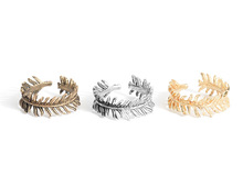 Artistic vintage alloy pine needle leaf finger ring for girls and women