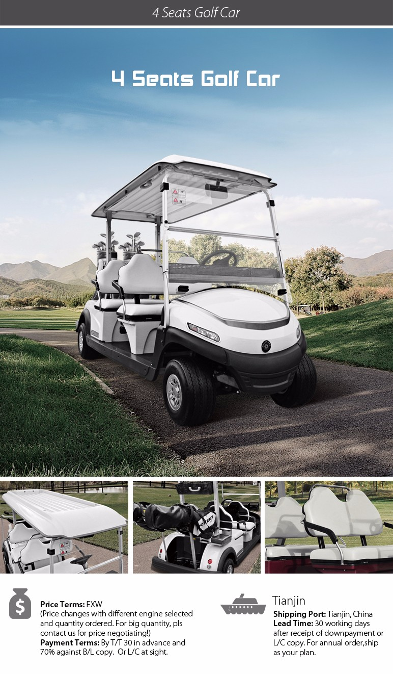 Good quality 4 seats battery golf car with Aluminium frame Curtis controller Trojan battery