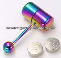 vibrating tongue bars anodized titanium tongue piercing with battery