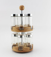 eco friendly decorative glass bamboo spice rack