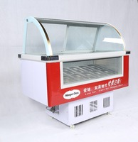 Curved glass top Ice Cream Display freezers showcase