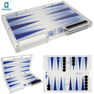 Trans Blue and Fluo Blue Large Acrylic Custom Chess Sets Game Backgammon Sets