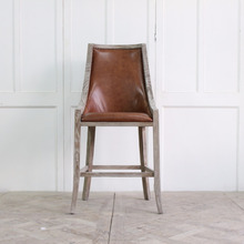 vintage style furnitue solid wooden leather bar chair