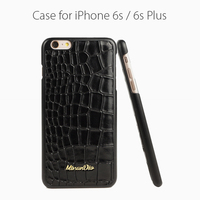Cow leather black color embossed crocodile leather cases for Iphone6