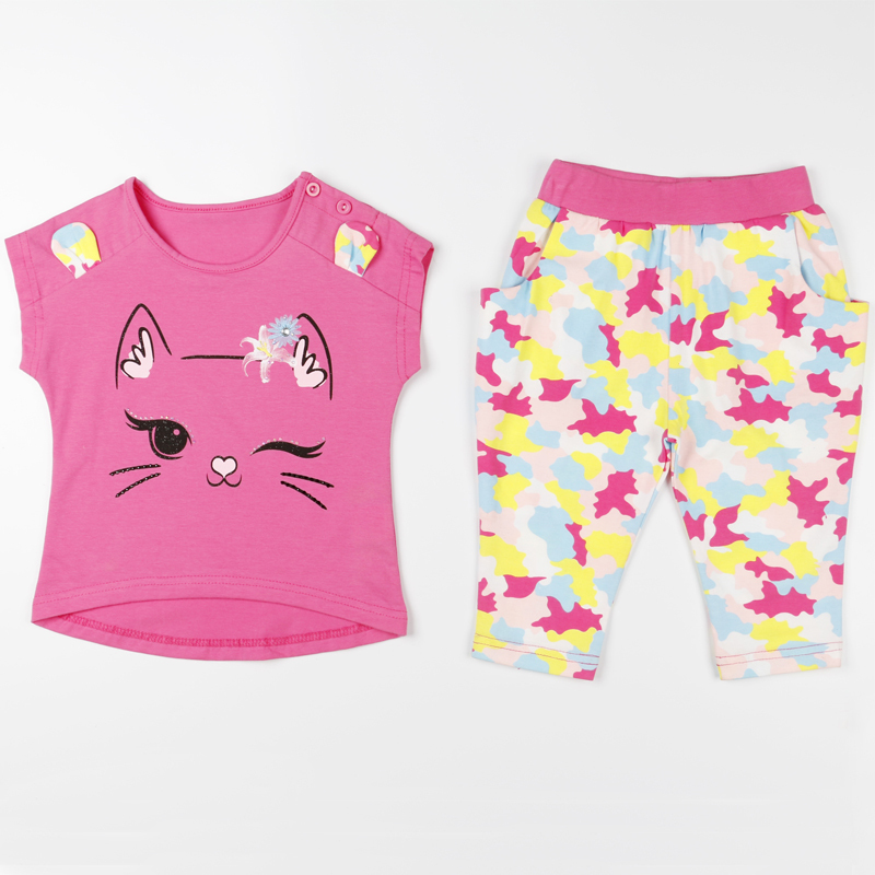 4 to 12 years old girls t c fabric summer cute cat pink for Fabric for children s clothes