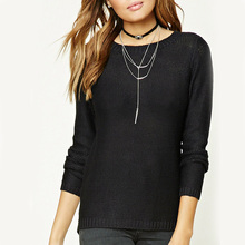2016 winter fashion women's Knitwear black long sleeve pullover sweater