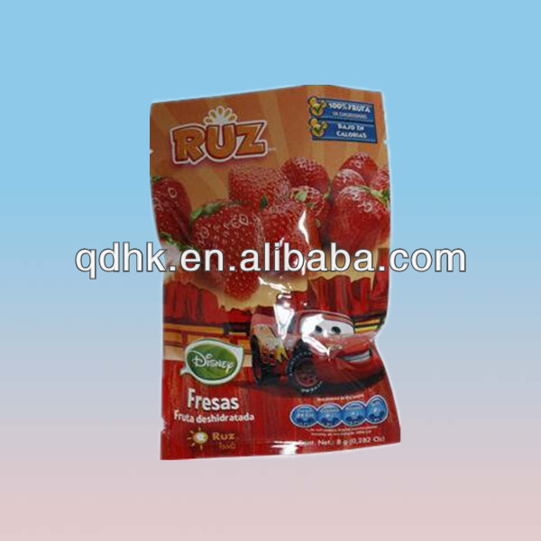 Strawberry juice bottom gusset packaging bag