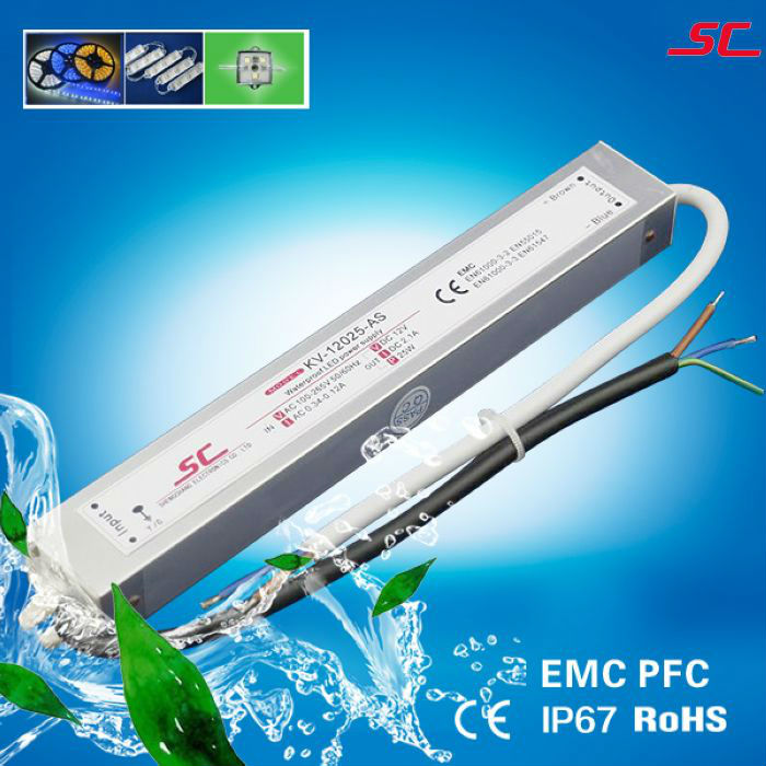 High reliability PFC EMC constant voltage waterproof led driver power supply transformer adapter ip66 12v 2.1a 25w