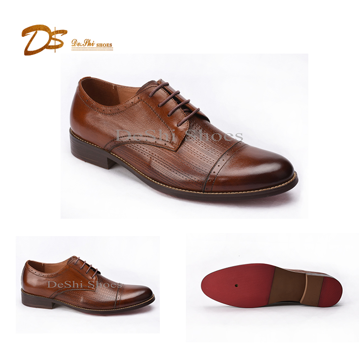 Fashion men derby shoes brogue oxford shoes men high quality genuine leather dress shoes