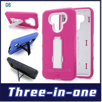 2 in 1 hard pc soft silicone hybrid kickstand robot armor case for lg g6