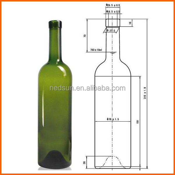 750ml cork wholesale wine empty glass bottles