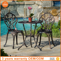 All Weather Cast Aluminum Patio Sets Mesh Outdoor Bistro Set