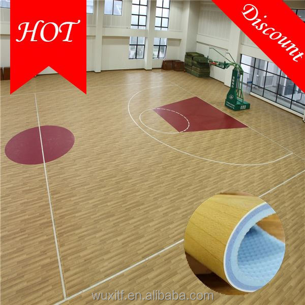 Barefoot friendly safe wood look synthetic basketball courts flooring