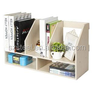 simple desk bookshelf,office wooden furniture bookshelf on desk