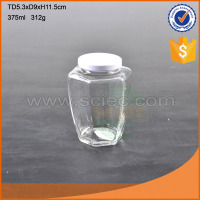Hexagon mini clear glass mason jar with metal lid
