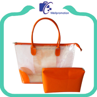 Summer clear pvc zip beach bag promotional beach tote bag