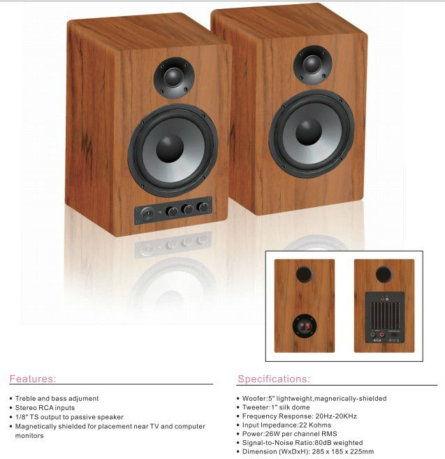 best selling wood box bookself speaker AL-30 Home Hi-Fi Bookshelf Speaker