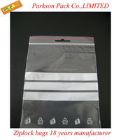 Clear PE ziplock plastic packaging bag with printing