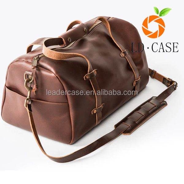 Heavy Duty Fashionable Italian Mens Leather Duffel/ Duffle Tote Bag for Men