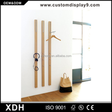 Elegant wall fix clothing hanging rack wooden wall clothes rail