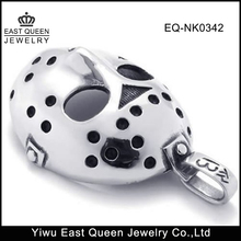 Stainless Steel Halloween Jason's Hockey Mask Mens Necklace Pendant