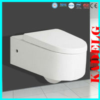 Soft close toilet wall mounted water closet