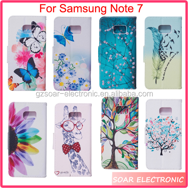 Wholesale new design colorful painted wallet leather case for Samsung Note 7,custom patterns leather holster for Samsung Note 7