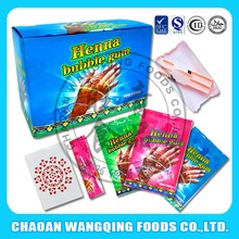 Surprise gift sweet fruity flavors henna tattoo bubble gum with factory price