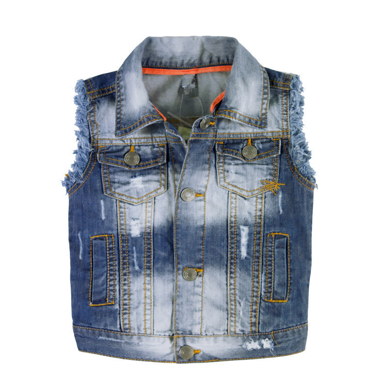 Boy's Fashion Burr Washed Outdoor Wear Denim Garments Vest From Alibaba Website