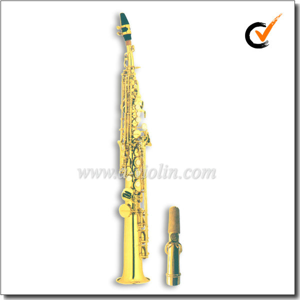 High F # Bb Key Gold Lacquer Straight Soprano Saxophone (SP2011G)