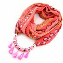 Stock ^^ South Korea velvet printed chiffon necklace pendant jewelry scarf with acrylic drop bead